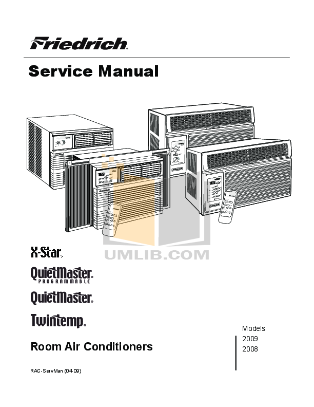 Download Free Pdf For Friedrich Quietmaster Ks15l10 Air Manual Guide