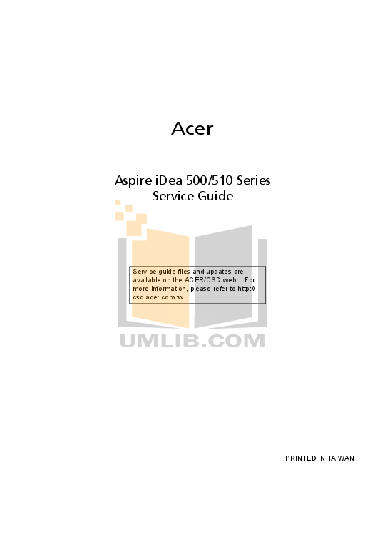 Acer Desktop Aspire iDea 510 pdf page preview