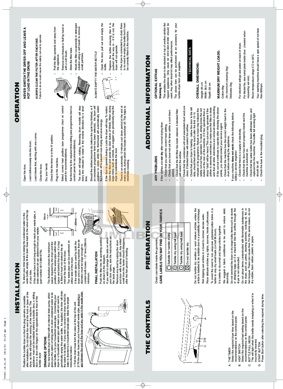 pdf for Baumatic Dryer BCD1W manual