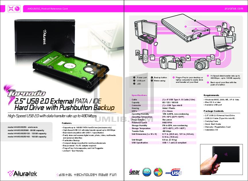 pdf for Aluratek Storage AHDUB250160 manual