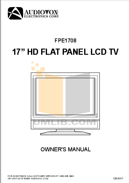 pdf for Audiovox TV FPE1708 manual