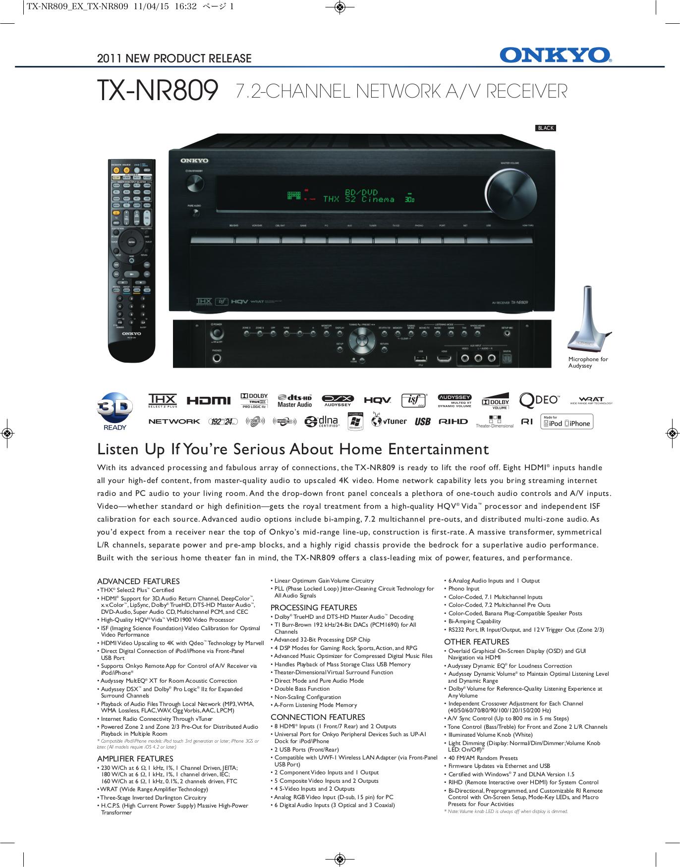 download free pdf for onkyo tx nr809 receiver manual rh umlib com  onkyo tx-nr809 instruction manual
