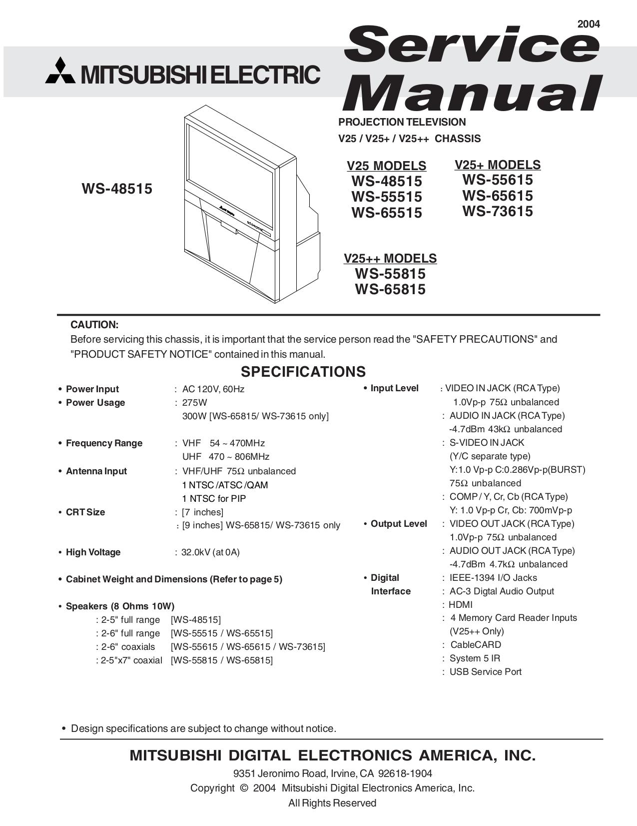 download free pdf for mitsubishi ws 55515 tv manual rh umlib com 55 Mitsubishi Flat Screen TV Mitsubishi TV