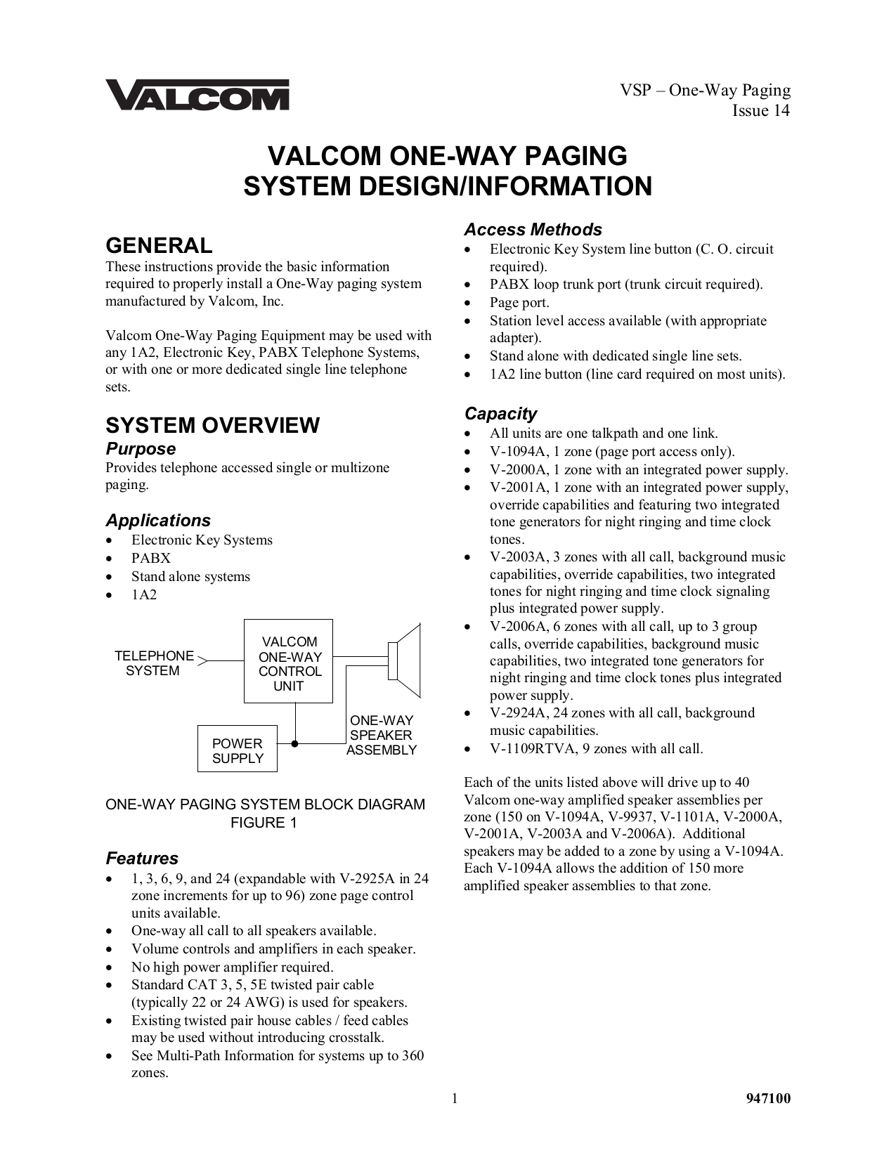 pdf for Valcom Speaker V763 manual