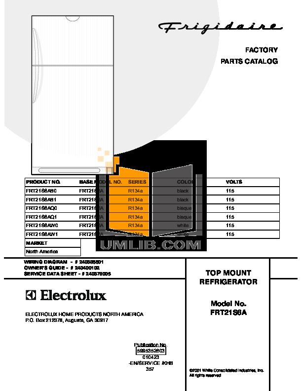 pdf for Frigidaire Refrigerator FRT21S6AW1 manual