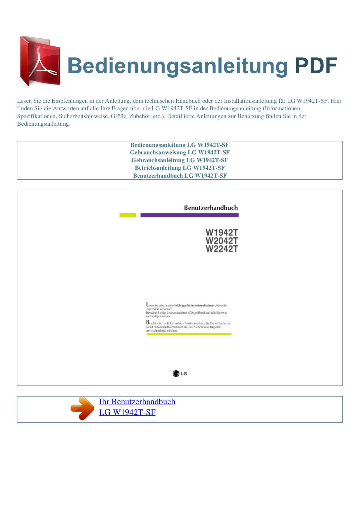 pdf for LG Monitor W1942T manual