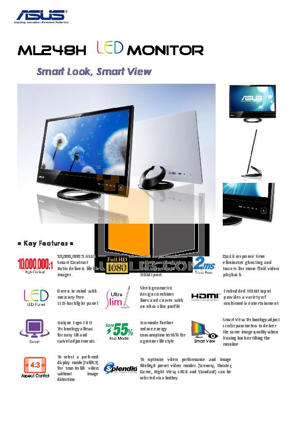 pdf for Asus Monitor ML248H manual