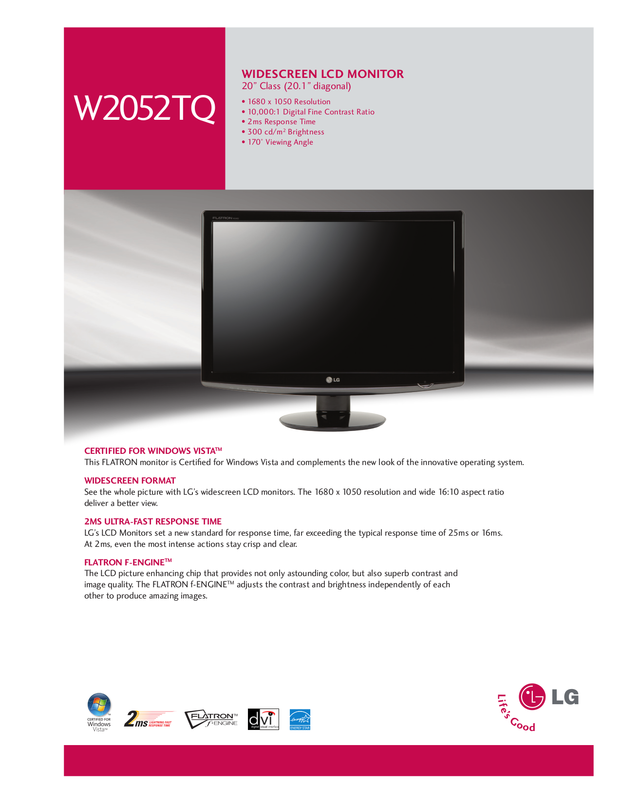 pdf for LG Monitor W2052TQ manual