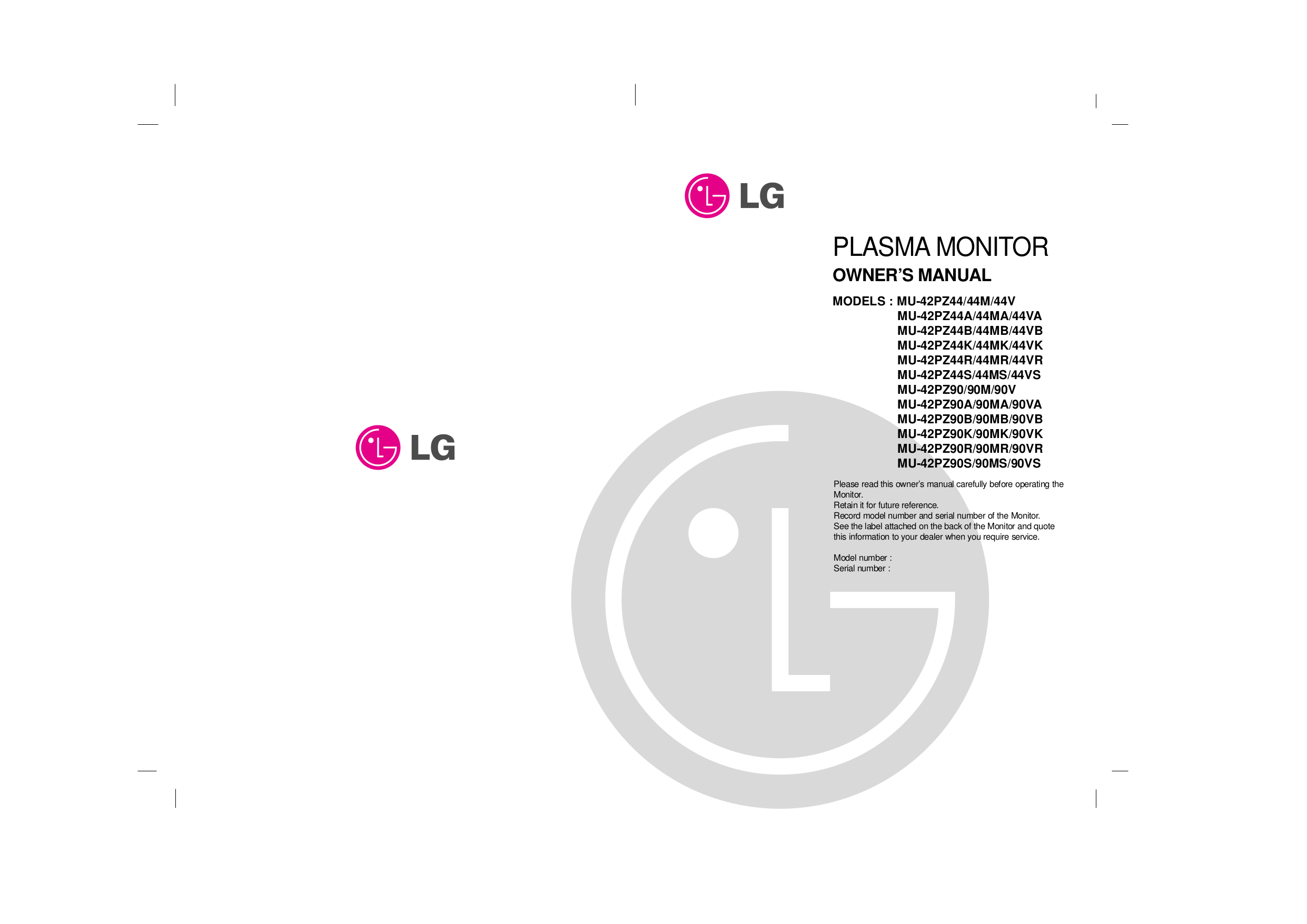 pdf for LG Monitor MU-42PZ90K manual