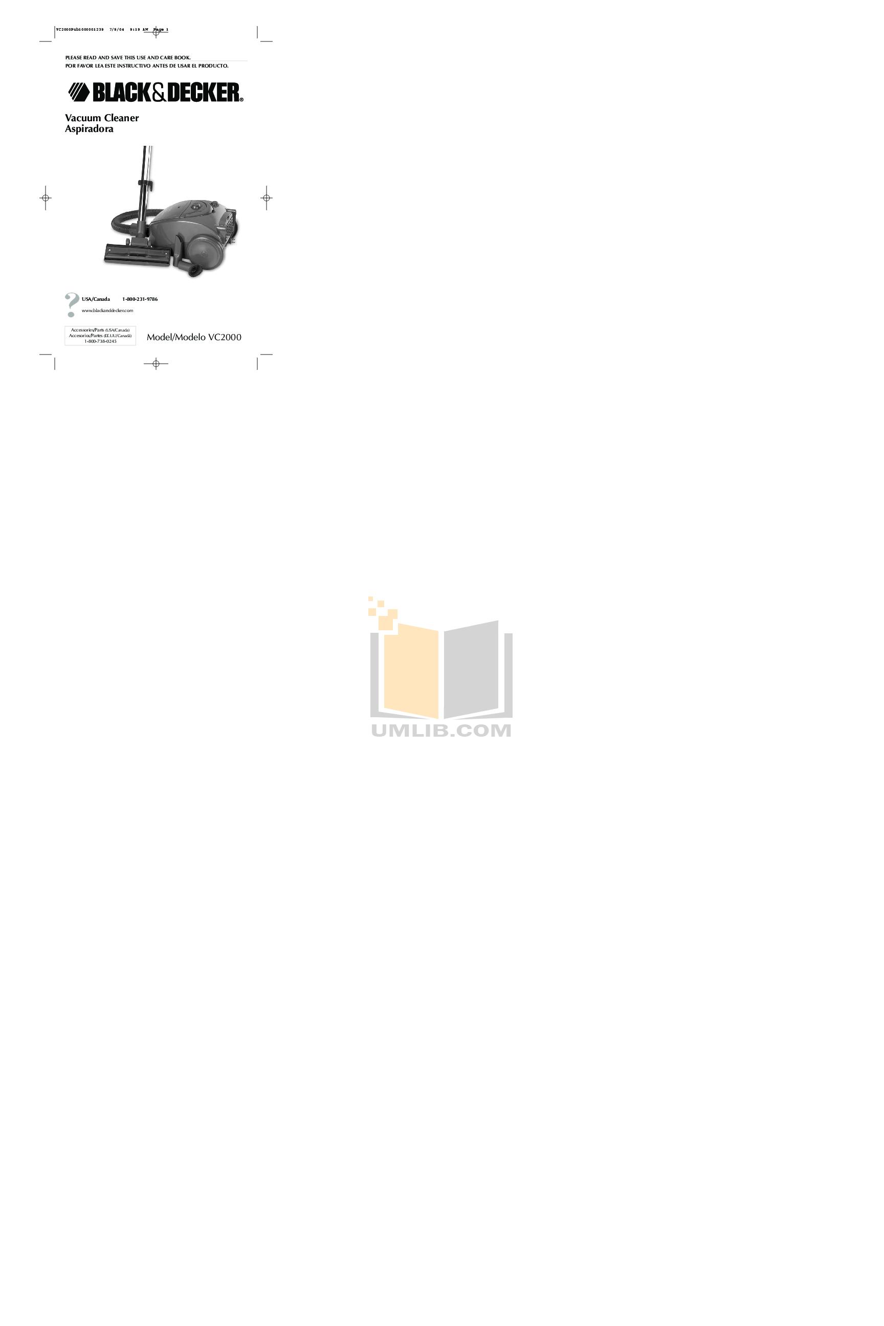 pdf for BlackAndDecker Vacuum VC2000 manual
