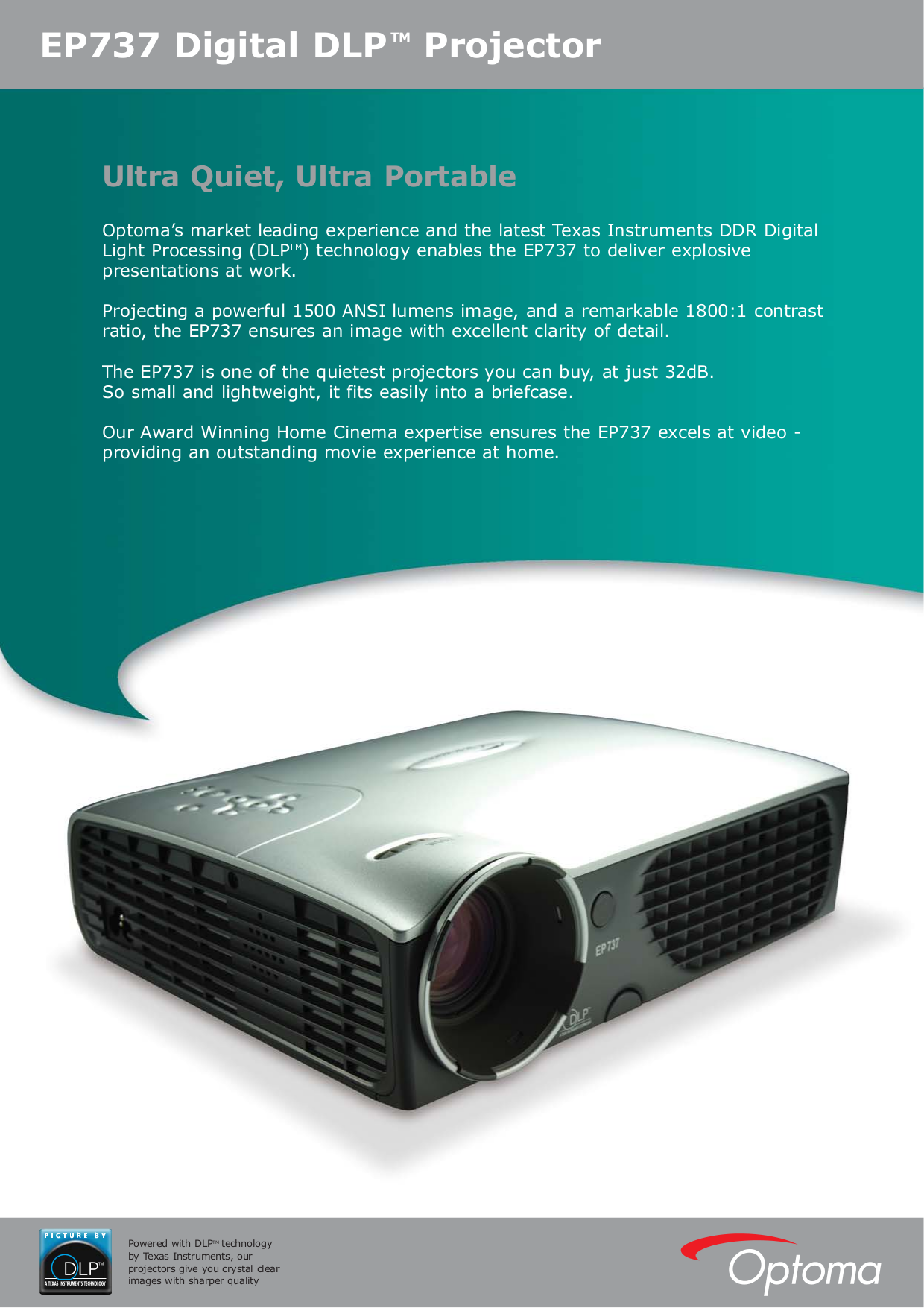 pdf for Optoma Projector EP737 manual