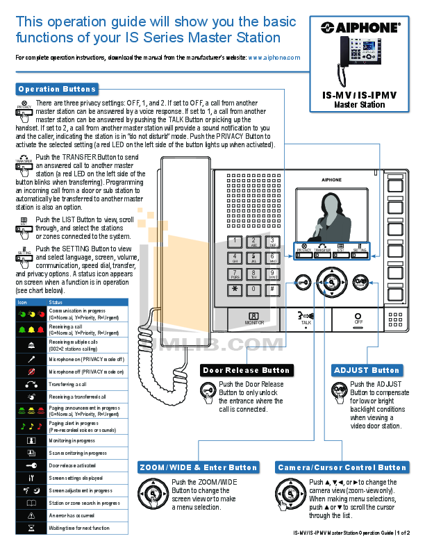 pdf for Aiphone Other TA-1F Intercoms manual