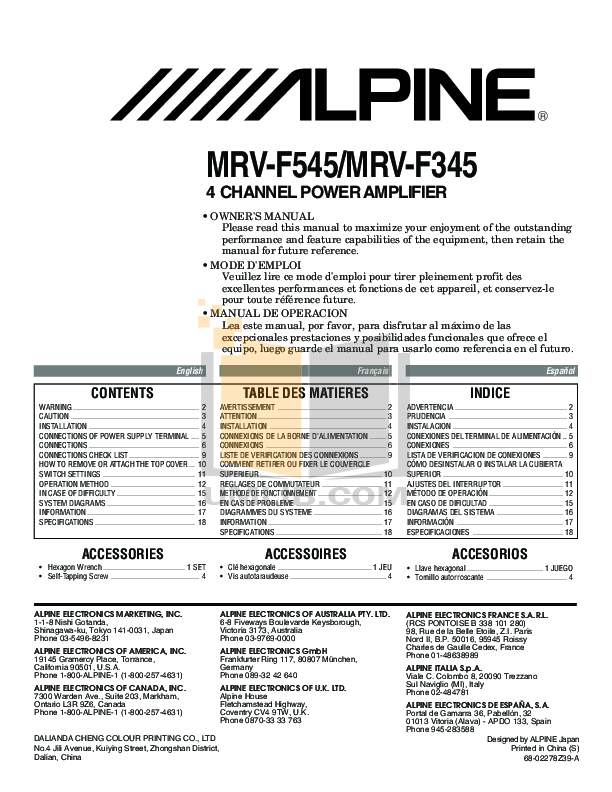 download free pdf for alpine mrv f545 car amplifier manual rh umlib com alpine car stereo user manual alpine car stereo manual cda-9883