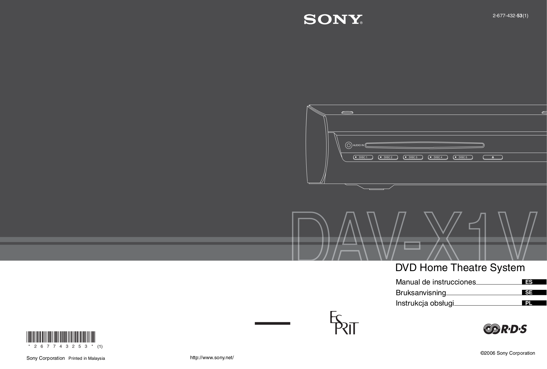Sony dav-dx250 integrated dvd system manual.