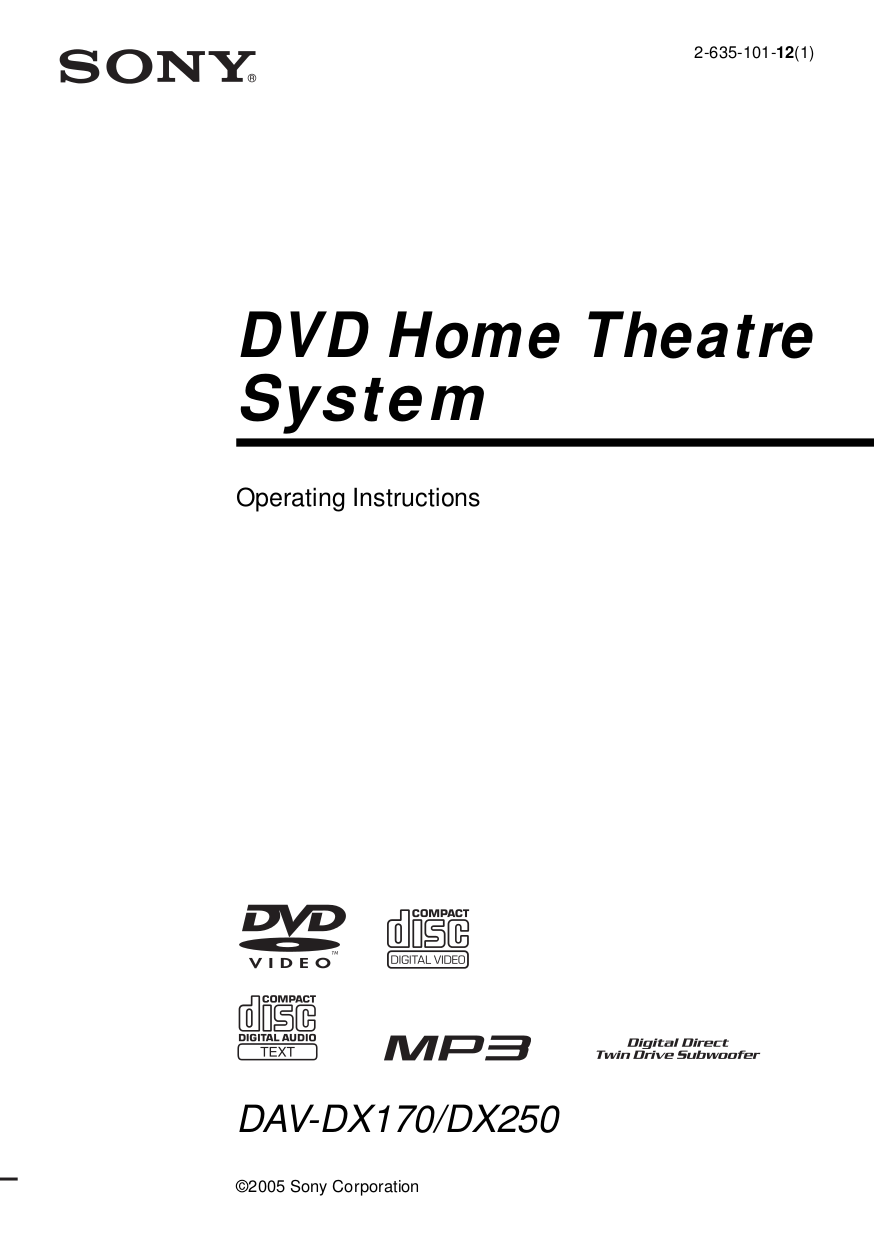 Download free pdf for sony dav-dx250 home theater manual.
