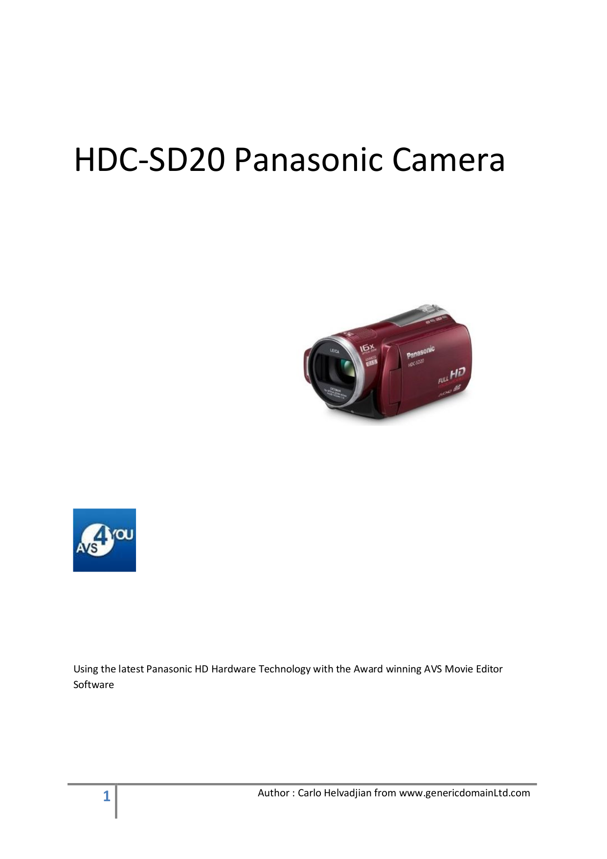 Download free pdf for Panasonic HDC-SD20 Camcorders manual