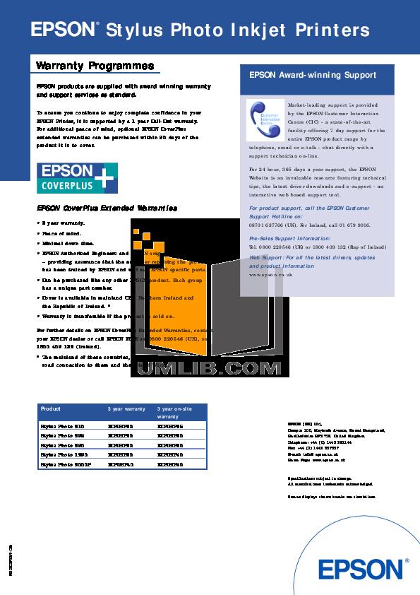 pdf for Epson Printer Stylus Photo 870 manual