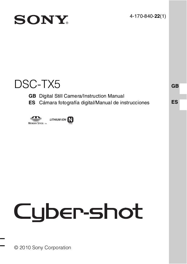 Download free pdf for Sony Cybershot,Cyber-shot DSC-TX5