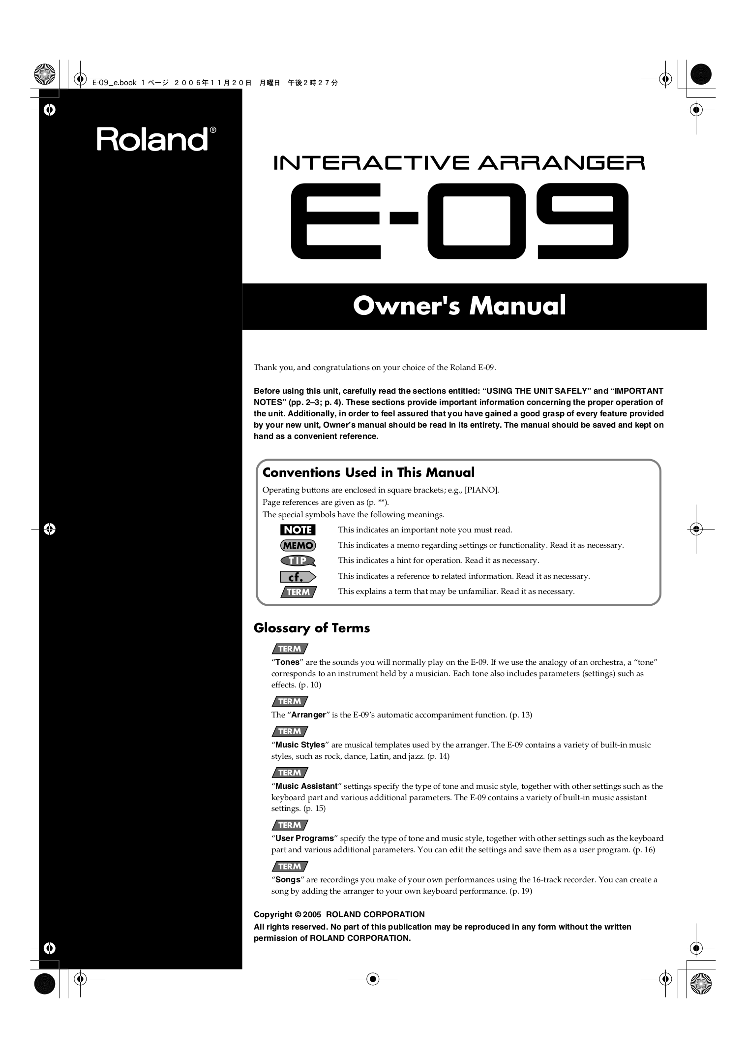 Download free pdf for Roland E-09 Music Keyboard manual
