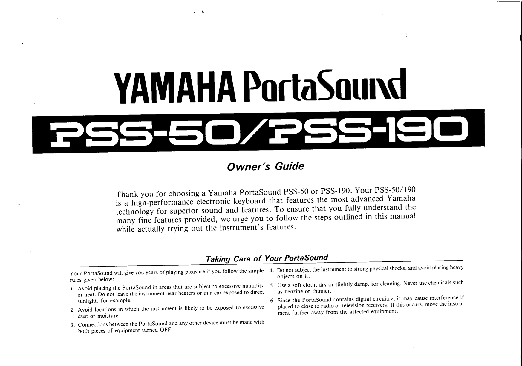 pdf for Yamaha Music Keyboard PSS-80 manual