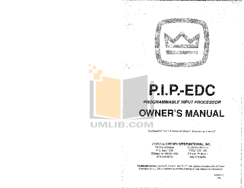 pdf for Crown Other PIP-EDC Input Processors manual