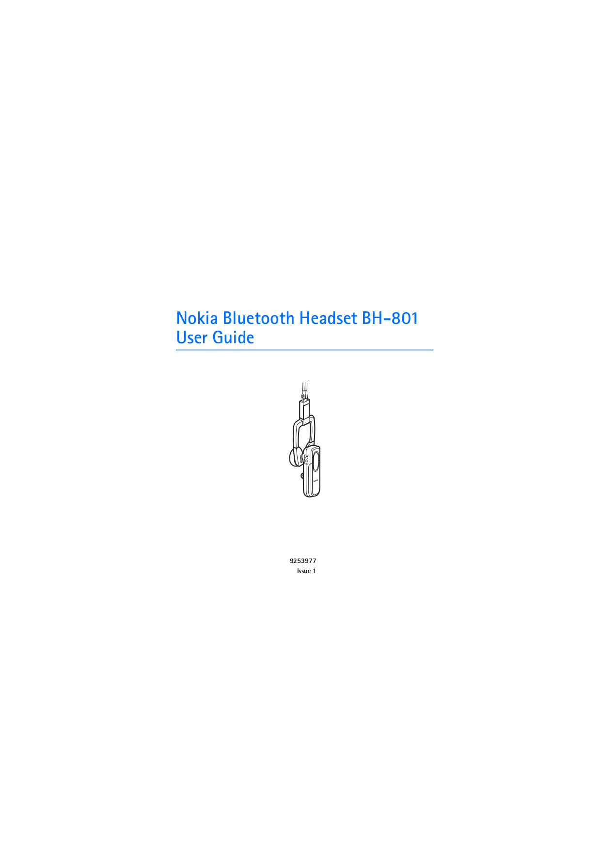 pdf for Nokia Headset BH-801 manual