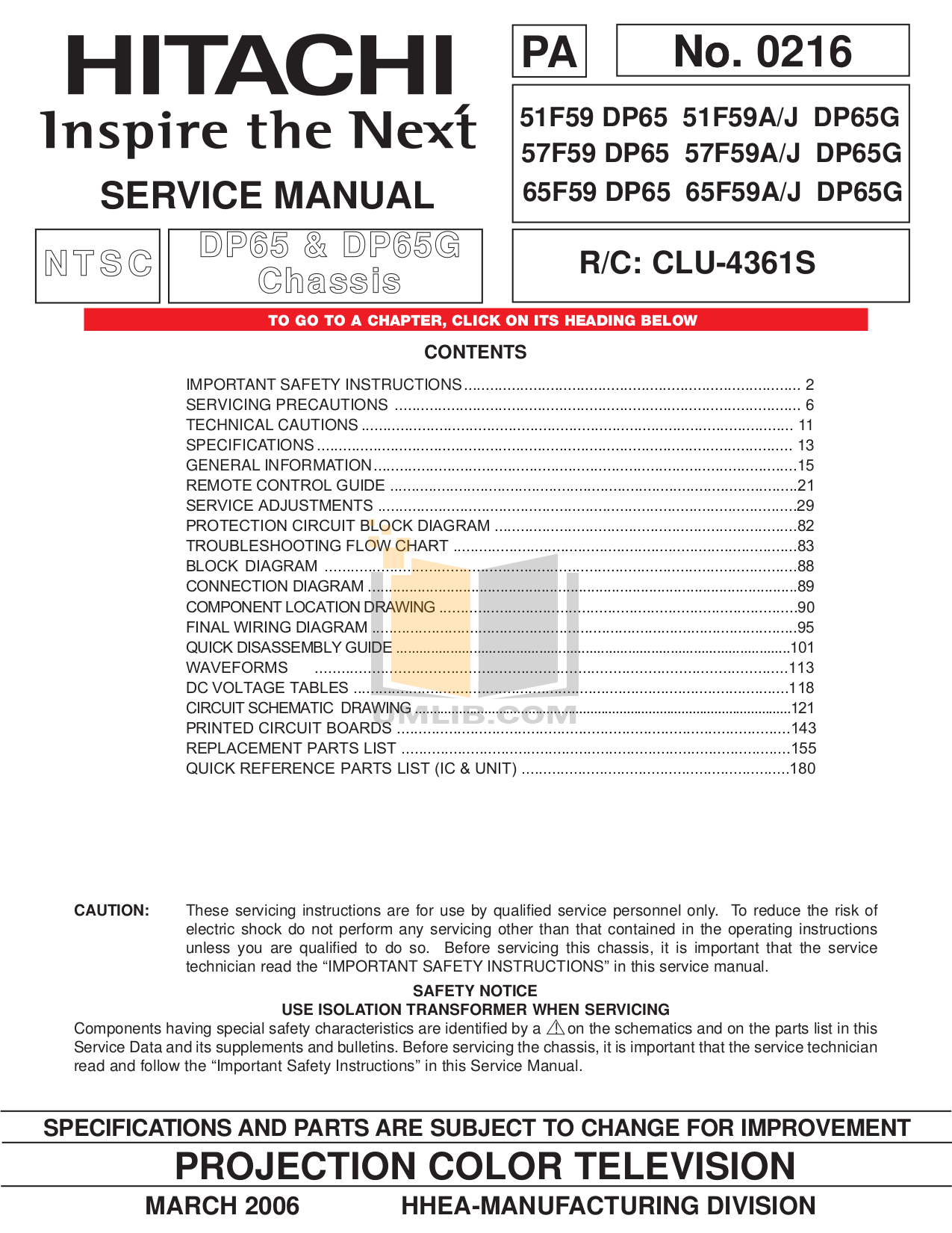 Admirable Pdf Manual For Hitachi Tv 51F59A Wiring Cloud Hisonuggs Outletorg