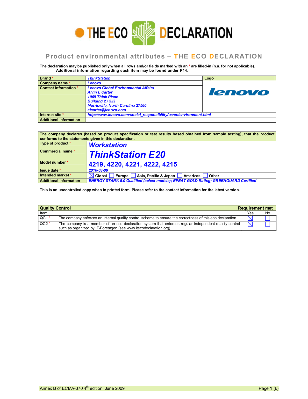 pdf for Lenovo Desktop ThinkStation E20 4215 manual
