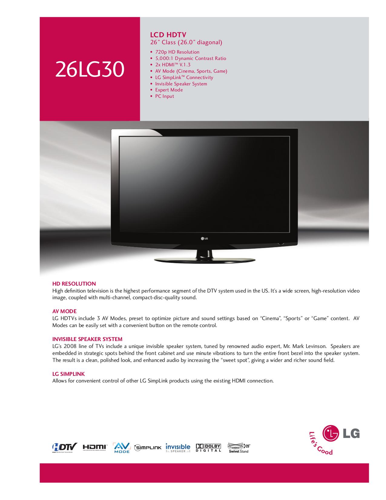 download free pdf for lg 26lg30 tv manual rh umlib com LG Laser Projector 2013 LG 42LG30