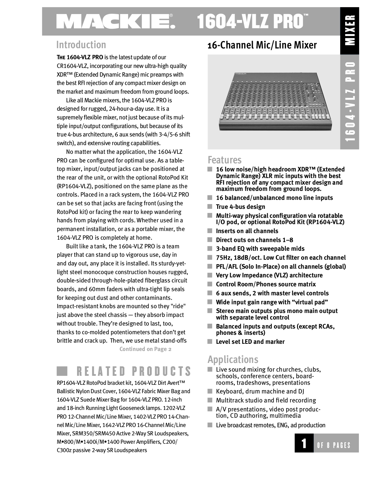 Download free pdf for Mackie 1402-VLZ Pro Line Mixer Other manual on