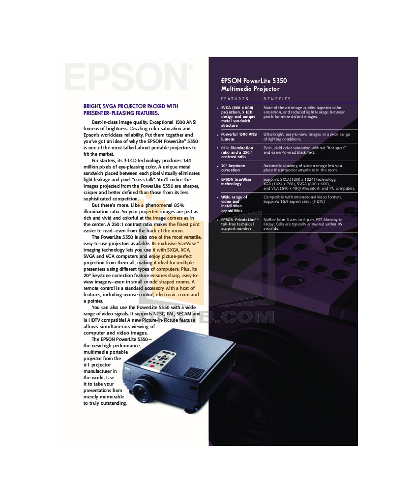 pdf for Epson Projector PowerLite 5350 manual