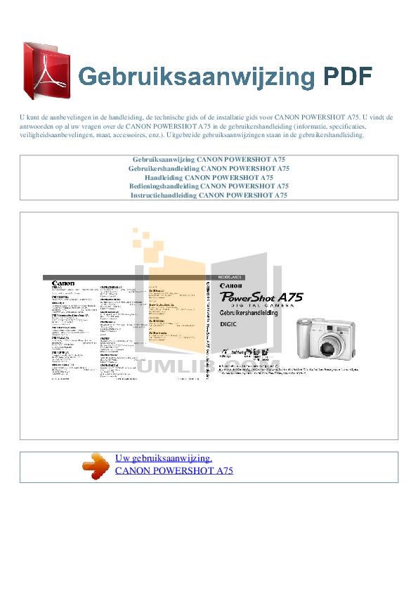 pdf for Canon Digital Camera Powershot A75 manual