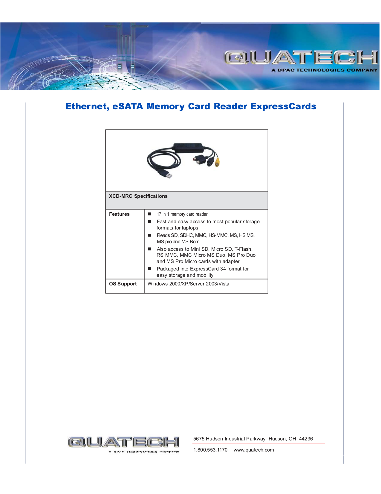 Quatech Other XCD-MRC Card Readers pdf page preview