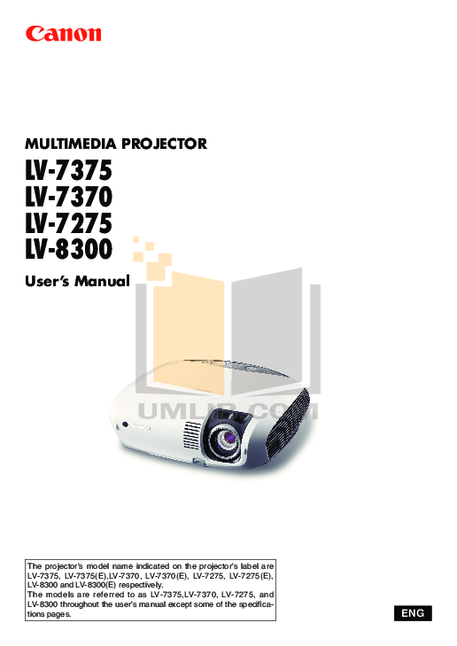 pdf for Canon Projector LV-7375 manual