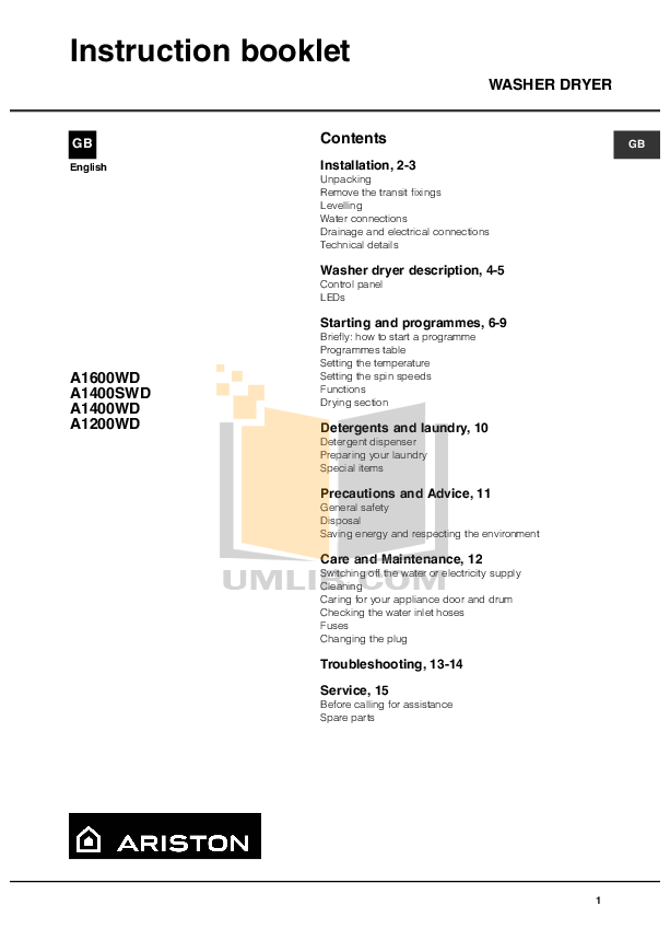 pdf for Ariston Washer AWD 120 manual