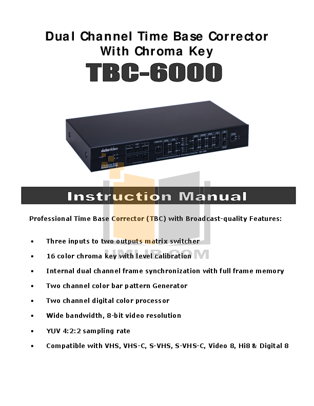 pdf for Datavideo Other TBC-6000 Time Base Correctors manual