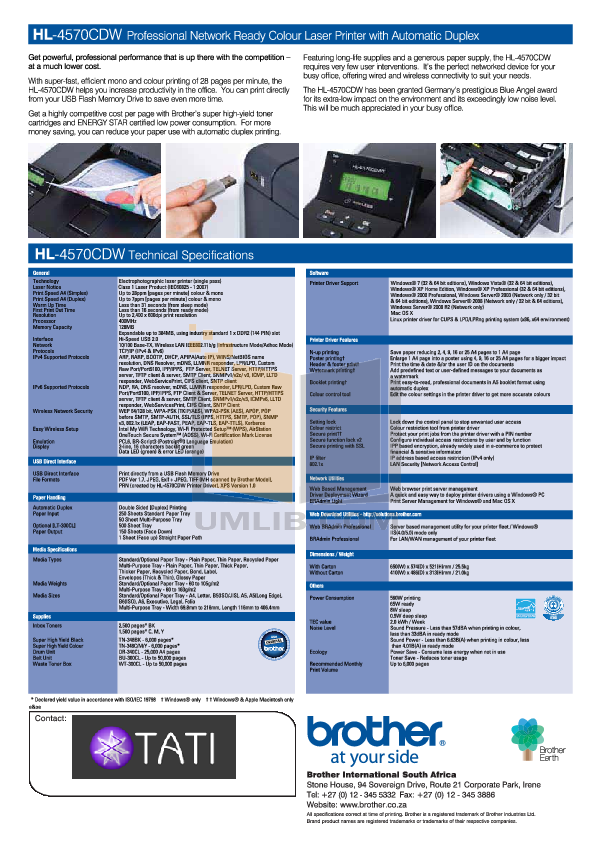 Brother Printer HL-4570CDW pdf page preview