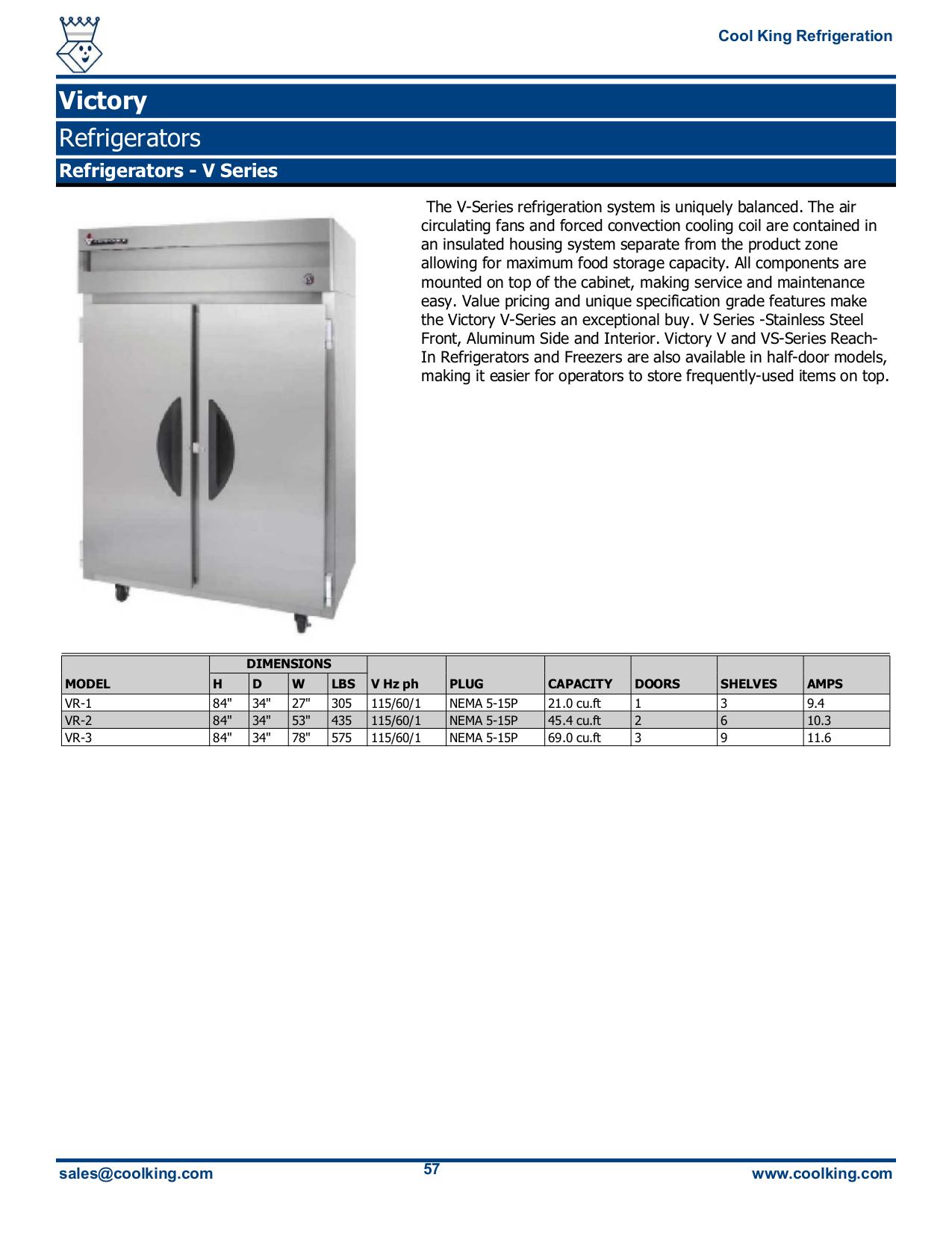 pdf for Victory Freezer RFSA-2D-S7-EW manual