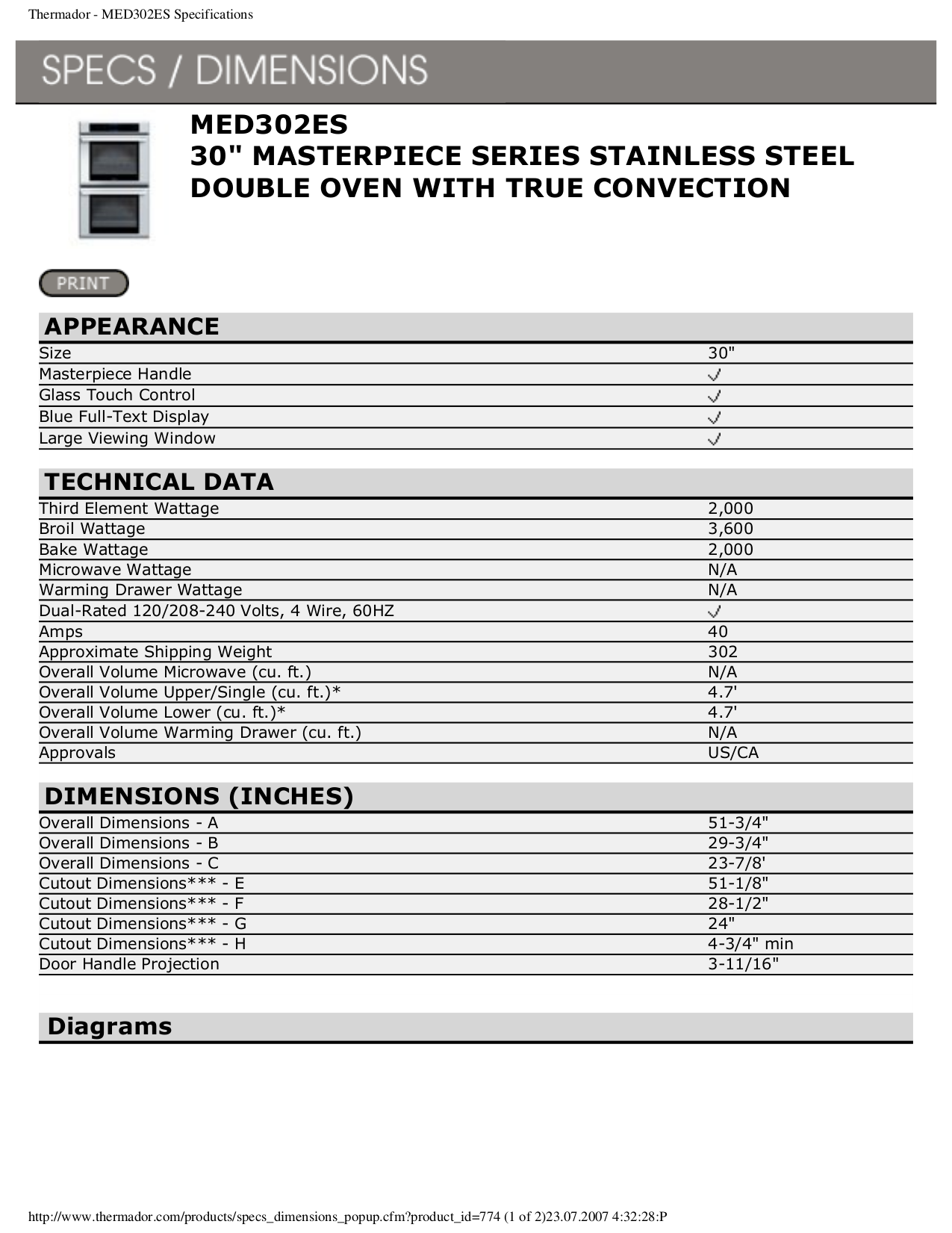 pdf for Thermador Oven MED302ES manual