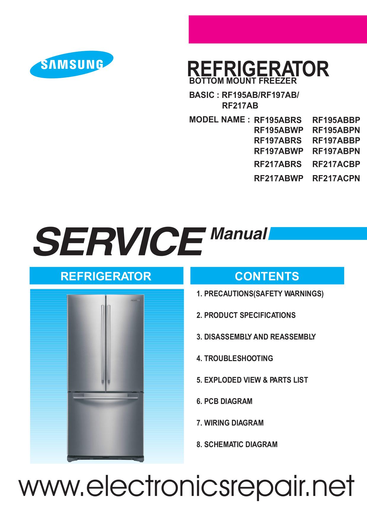 Samsung Refrigerator RF197ABPN pdf page preview