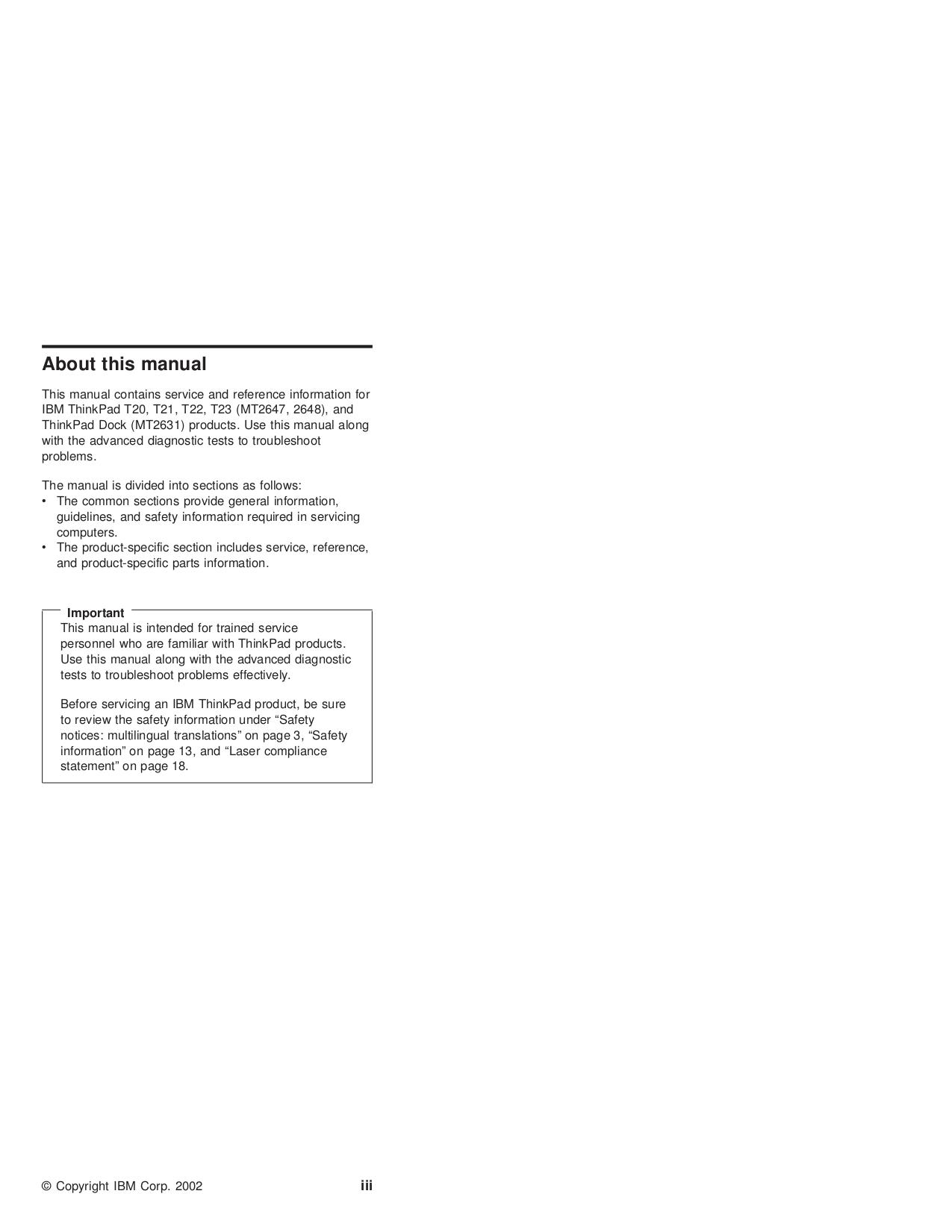 ... IBM Laptop ThinkPad A21m pdf page preview ...