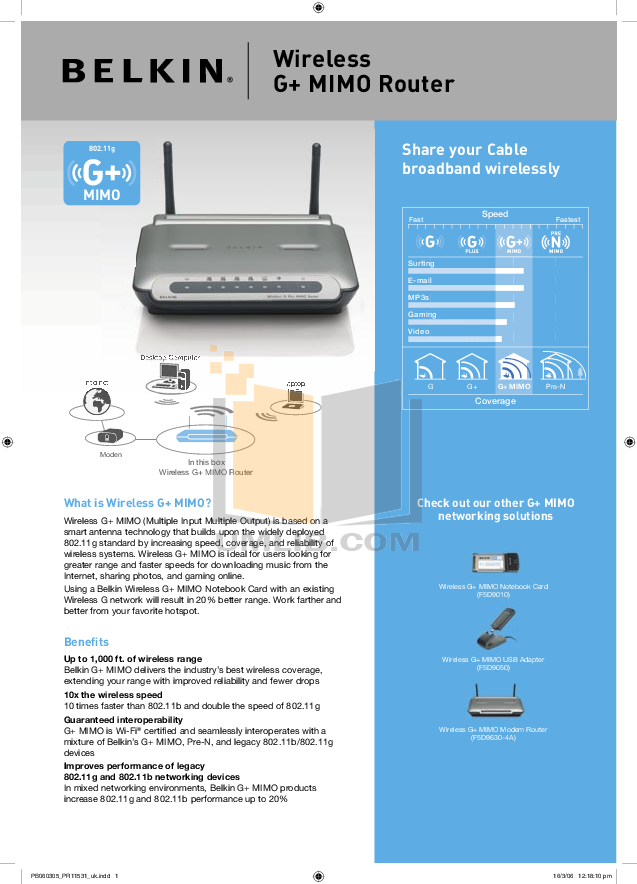 pdf for Belkin Router F5D9010 manual