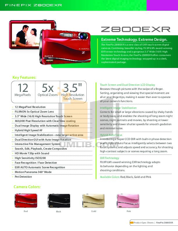 Fujifilm finepix z800exr инструкция