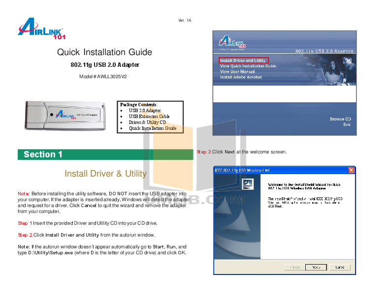 pdf for Airlink Other AWLL3025v2 Adapters manual