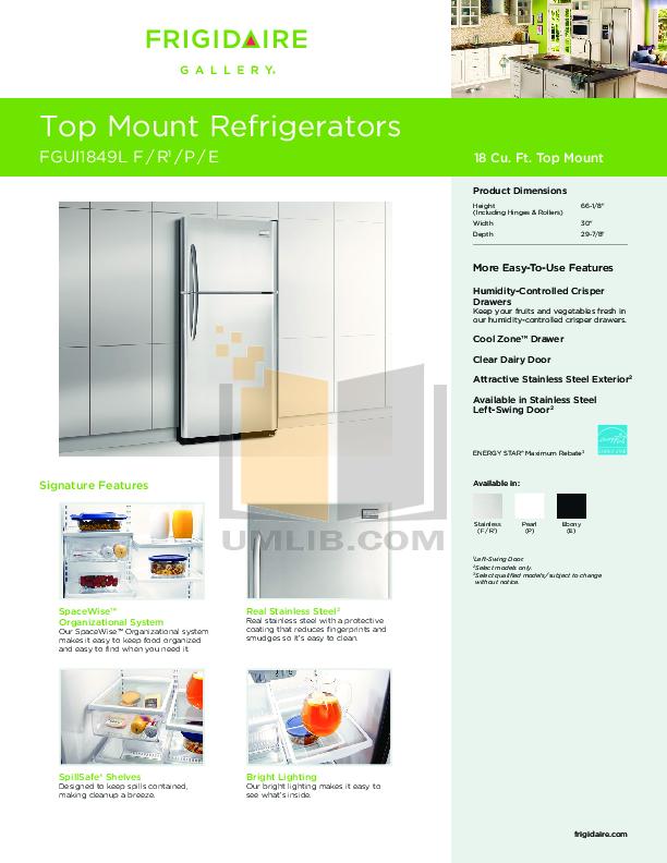 pdf for Frigidaire Refrigerator FGUI1849LF manual