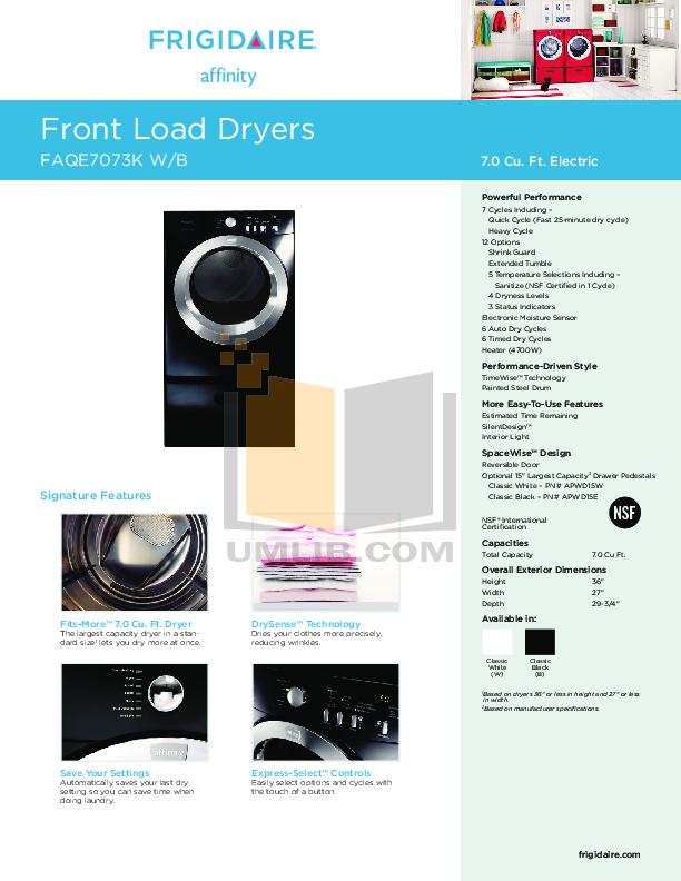 pdf for Frigidaire Dryer Affinity FAQE7073K manual