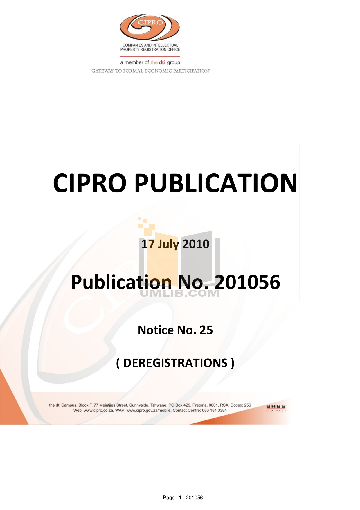 Cipro company deregistration forms