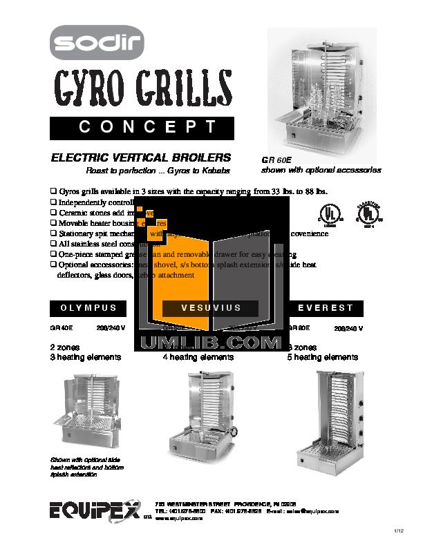 pdf for Equipex Grill GR-40E manual