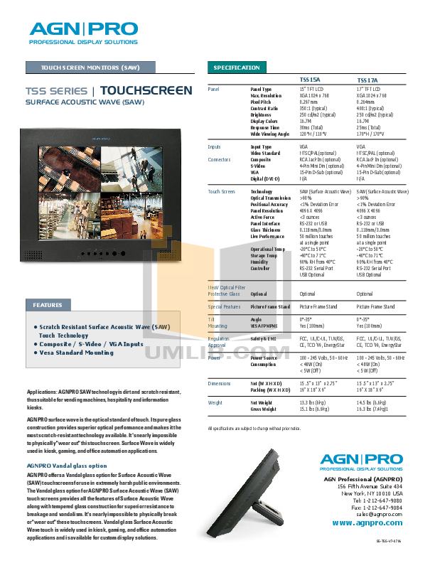 pdf for Agnpro Monitor TSS-17A manual
