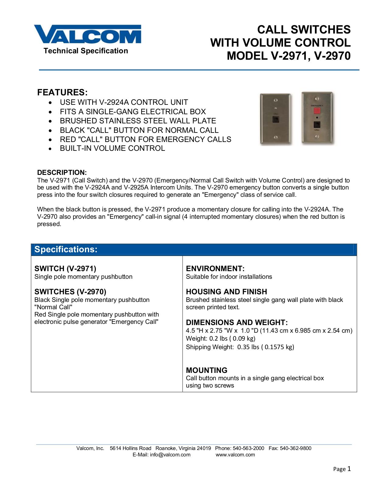 pdf for Valcom Switch V2971 manual